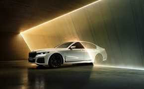 Picture white, BMW, sedan, hybrid, four-door, G11, 7, 7-series, 2019, 745e, strip light