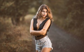 Wallpaper ass, chest, look, pose, hair, shorts, Girl, hands, legs, Jiri Tulach