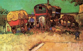 Picture boy, horse, carts, Vincent van Gogh, with Caravans, Encampment of Gypsies