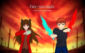 Picture girl, magic, guy, Tohsaka Rin, Emiya Shirou, Fate stay night, Fate / Stay Night