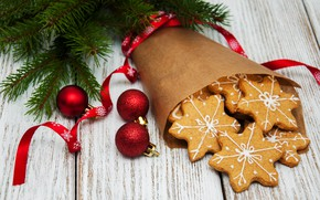 Picture decoration, balls, New Year, Christmas, christmas, wood, merry, cookies, decoration, gingerbread, gingerbread, fir tree, fir-tree …
