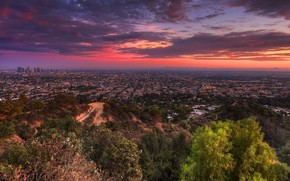 Picture road, trees, sunset, the city, lights, home, street, Los Angeles
