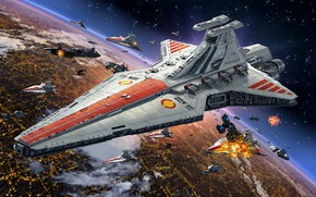 """Picture Star Wars, Coruscant, Star destroyer, type """"Venator"""", The Galactic Republic, Navy Open Ring, in a …"""