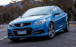 Picture car, machine, asphalt, lights, sedan, drives, front, blue, blue, Holden, Holden, Holden Commodore SV6, Holden …