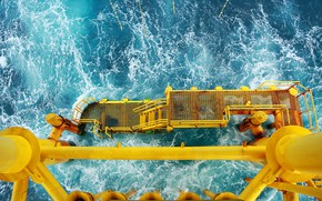 Picture metal, ocean, yellow, platform