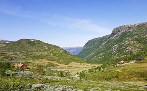Picture the sky, the sun, trees, mountains, nature, field, valley, Norway, houses, meadows