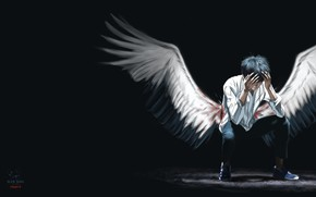 Picture wings, angel, art, 青春.Youth, Heart K