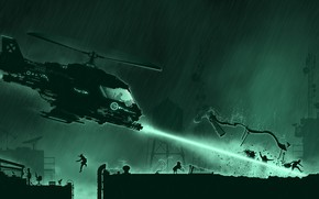 Picture Minimalism, Fire, Rain, Style, Helicopter, Fantasy, Fire, Art, Technique, Style, Fiction, Laser, Rain, Helicopter, November, …