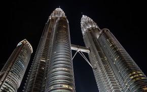 Picture night, bridge, the city, tower, Malaysia, Kuala Lumpur