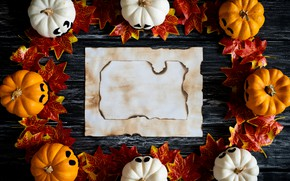 Wallpaper autumn, leaves, background, Board, colorful, Halloween, pumpkin, maple, wood, background, autumn, leaves, autumn, pumpkin, maple