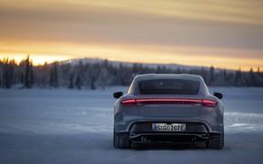 Picture field, snow, grey, Porsche, back, 2020, Taycan, Taycan 4S