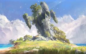 Picture grass, fantasy, beach, sky, trees, sea, coast, clouds, birds, digital art, artwork, fantasy art, Spaceship, …
