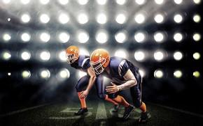 Picture field, light, lawn, American football, uniform, men, athletes, floodlight, hats