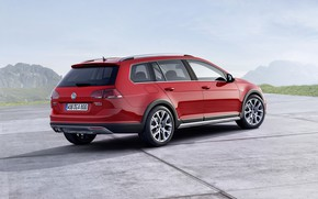 Picture red, Volkswagen, side, universal, 2014, Golf Alltrack