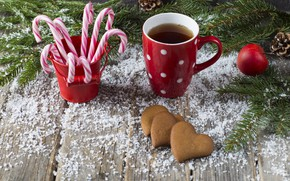 Picture snow, decoration, New Year, Christmas, Christmas, snow, New Year, coffee cup, cookies, decoration, a Cup …