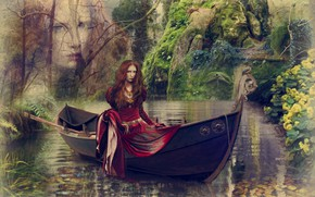 Picture girl, trees, lake, collage, boat, art, Kingfisher