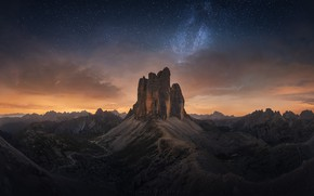 Picture the sky, stars, mountains, night, rocks, The Dolomites