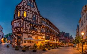 Picture Germany, home, trees, the bushes, tables, lights, chairs, the evening, lights, streets, Bacharach, umbrellas