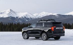 Picture snow, mountains, tops, side, GMC, SUV, Denali, Yukon, 2020