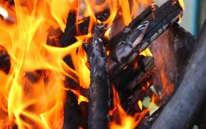 Picture fire, wood, grill