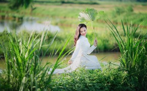 Picture grass, girl, shore, Asian, white dress, pond