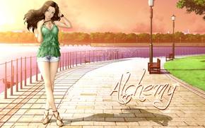Picture girl, street, macadam