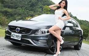 Picture auto, look, smile, Girls, Asian, beautiful girl, beautiful dress, Volvo V60, posing on the car