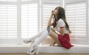 Picture youth, beauty, long hair, long hair, beauty, window, blinds, window, white top, Japanese model, blinds, …