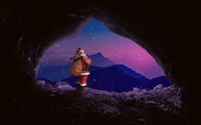 Picture stars, mountains, night, the dark background, rendering, holiday, graphics, back, Christmas, New year, cave, Santa …