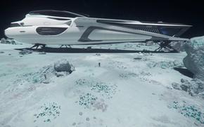 Picture surface, planet, pilot, spaceship, Star Citizen