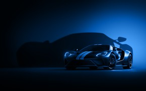 Picture Ford, Auto, Blue, Machine, Shadow, Ford GT, Car, Art, Render, Design, Supercar, Shadow, Supercar, Sports …