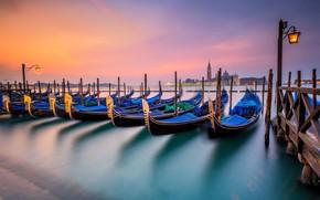 Picture night, lights, boats, Italy, lantern, Venice, gondola