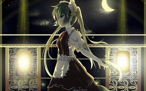Picture night, a month, Hatsune Miku, Vocaloid, Vocaloid, the maid, Hatsune Miku