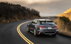 Picture road, Audi, markup, turn, universal, RS 6, 2020, 2019, dark gray, V8 Twin-Turbo, RS6 Avant