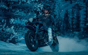 Picture mustache, snow, motorcycle, beard, guy, tree, Days Gone