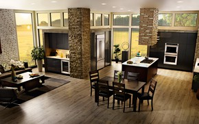 Picture interior, kitchen, living room, dining room, East coast, contemporary house