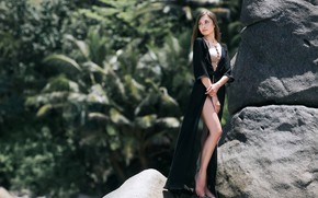 Picture the sun, trees, sexy, pose, stones, model, portrait, makeup, figure, dress, hairstyle, brown hair, legs, …
