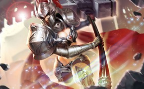 Picture girl, the game, armor, helmet, knight, King of Glory, The king of glory