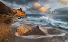 Picture winter, sea, wave, beach, landscape, clouds, nature, stones, rocks, surf, Crimea, Balaclava