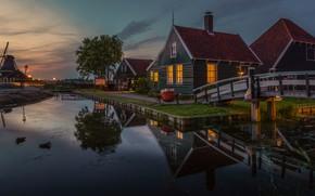 Picture water, landscape, reflection, village, home, the evening, lighting, mill, Museum, Netherlands, bridges, Zaanse Schans, The …