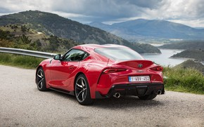 Picture road, grass, mountains, coupe, Toyota, Supra, the fifth generation, mk5, double, 2019, GR Above, A90, …