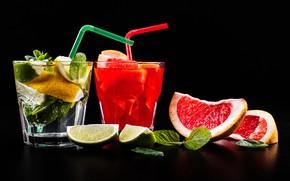 Wallpaper ice, lime, lemonade, drinks, citrus, fruit