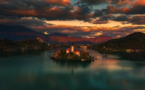 Picture landscape, sunset, mountains, nature, lake, Church, island, Slovenia, Lake bled, Bled