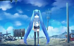 Picture girl, ruins, Vocaloid, Hatsune Miku, tails