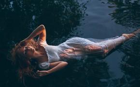 Picture water, girl, light, model, hair, wet, dress, Martin Strauss