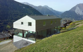 Picture mountains, Villa, Switzerland, architecture, house in Switzerland Alps, by Savioz Fabrizzi Architectes, Val d'Entremont House
