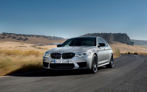Picture the sky, asphalt, grey, hills, BMW, sedan, 4x4, 2018, four-door, M5, V8, F90, M5 Competition