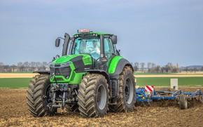 Picture field, the sky, work, tractor, cabin, rooms, wheel, big wheels, agricultural machinery, Deutz-Fahr, cultivator, Deutz-Fahr …