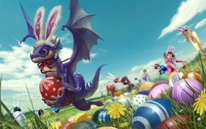 Picture nature, people, dragon, egg, fantasy, Easter