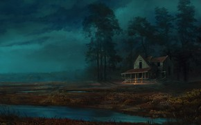 Picture Night, Trees, River, Forest, House, House, Landscape, Landscape, Night, River, Forest, Trees, by Felix Szczykutowicz, …